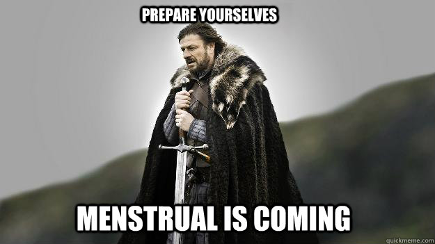 menstrual is coming  Prepare yourselves - menstrual is coming  Prepare yourselves  Ned stark winter is coming