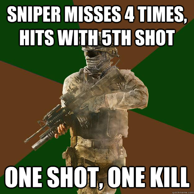 Sniper misses 4 times, hits with 5th shot  One shot, one kill