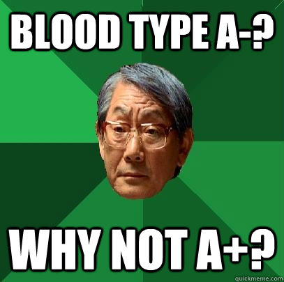 blood type a-? why not a+?  High Expectations Asian Father