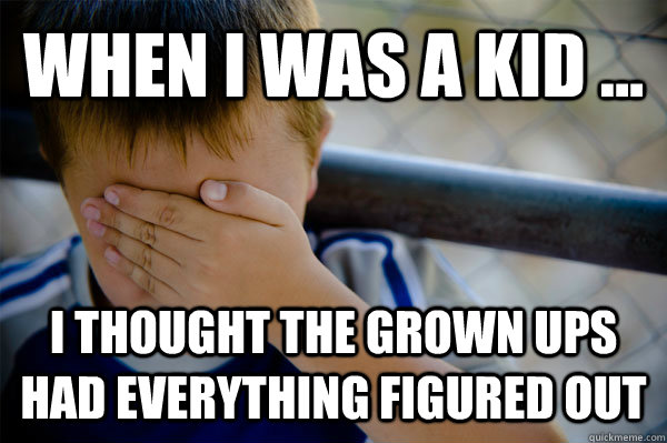 WHEN I WAS A KID ... I thought the grown ups had everything figured out