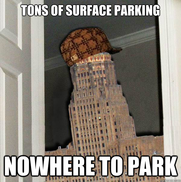 Tons of surface parking Nowhere to park