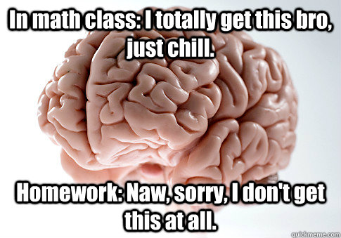 In math class: I totally get this bro, just chill. Homework: Naw, sorry, I don't get this at all. - In math class: I totally get this bro, just chill. Homework: Naw, sorry, I don't get this at all.  Scumbag Brain