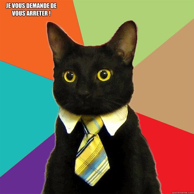 je vous demande de vous arreter !  Business Cat