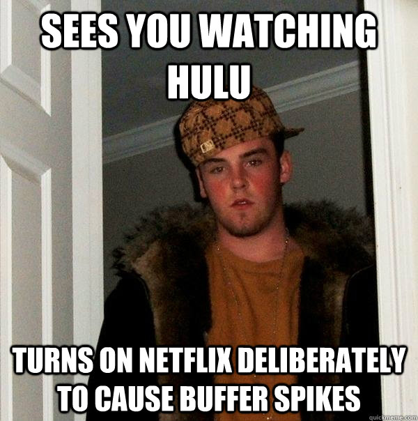 sees you watching hulu turns on netflix deliberately to cause buffer spikes - sees you watching hulu turns on netflix deliberately to cause buffer spikes  Scumbag Steve