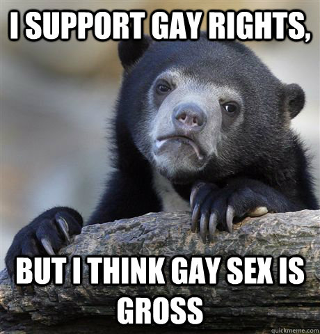 I support gay rights, But I think gay sex is gross - I support gay rights, But I think gay sex is gross  Confession Bear