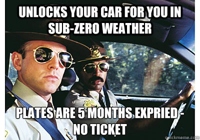 Unlocks your car for you in sub-zero weather plates are 5 months expried -  no ticket - Unlocks your car for you in sub-zero weather plates are 5 months expried -  no ticket  Good Guy Cop