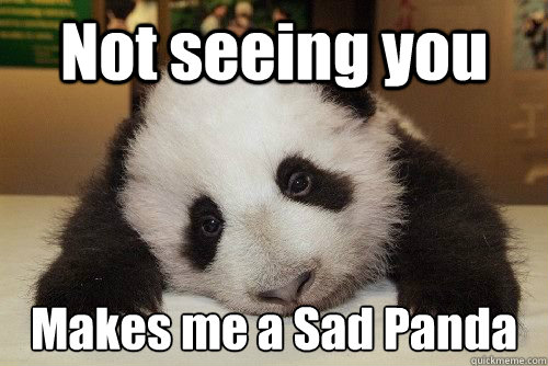 Not seeing you Makes me a Sad Panda