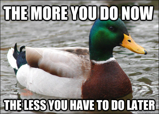 the more you do now the less you have to do later  - the more you do now the less you have to do later   Actual Advice Mallard
