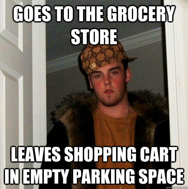 goes to the grocery store leaves shopping cart in empty parking space - goes to the grocery store leaves shopping cart in empty parking space  Scumbag Steve