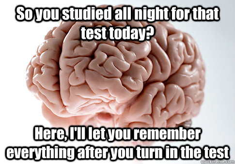 So you studied all night for that test today? Here, I'll let you remember everything after you turn in the test  - So you studied all night for that test today? Here, I'll let you remember everything after you turn in the test   Scumbag Brain