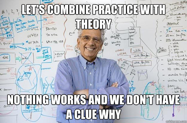 let's combine practice with theory nothing works and we don't have a clue why