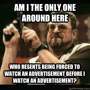 Am i the only one around here who resents being forced to watch an advertisement before I watch an advertisement? - Am i the only one around here who resents being forced to watch an advertisement before I watch an advertisement?  Misc