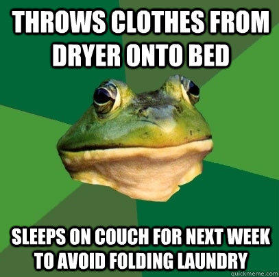 Throws clothes from dryer onto bed Sleeps on couch for next week to avoid folding laundry - Throws clothes from dryer onto bed Sleeps on couch for next week to avoid folding laundry  Foul Bachelor Frog