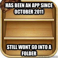 Has been an app since october 2011 Still wont go into a folder - Has been an app since october 2011 Still wont go into a folder  Misc