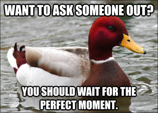 Want to ask someone out? You should wait for the perfect moment.  - Want to ask someone out? You should wait for the perfect moment.   Malicious Advice Mallard