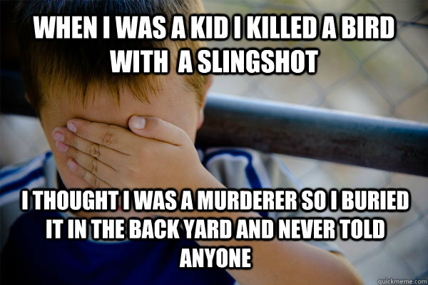 WHEN I WAS A KID i killed a bird with  a slingshot  I thought i was a murderer so i buried it in the back yard and never told anyone  - WHEN I WAS A KID i killed a bird with  a slingshot  I thought i was a murderer so i buried it in the back yard and never told anyone   Confession kid