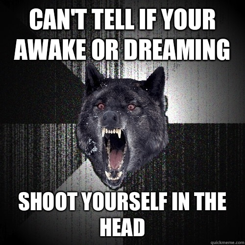 Can't tell if your awake or dreaming Shoot yourself in the head - Can't tell if your awake or dreaming Shoot yourself in the head  Insanity Wolf