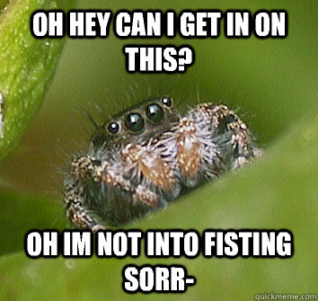 Oh hey can i get in on this? Oh im not into fisting sorr-  Misunderstood Spider