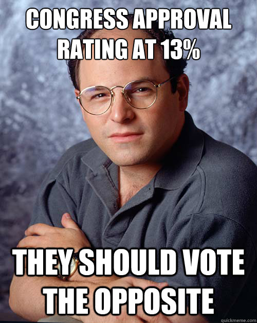 CONGRESS APPROVAL RATING AT 13% They should vote the opposite - CONGRESS APPROVAL RATING AT 13% They should vote the opposite  Opposite George