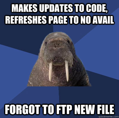 Makes updates to code, refreshes page to no avail forgot to Ftp new file - Makes updates to code, refreshes page to no avail forgot to Ftp new file  Web Developer Walrus