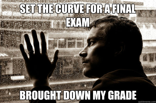 Set the curve for a final exam brought down my grade - Set the curve for a final exam brought down my grade  Over-Educated Problems