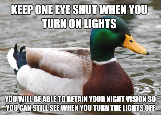 Keep one eye shut when you turn on lights You will be able to retain your night vision so you can still see when you turn the lights off - Keep one eye shut when you turn on lights You will be able to retain your night vision so you can still see when you turn the lights off  Actual Advice Mallard