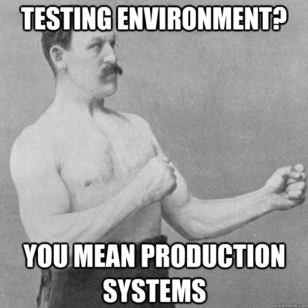 Testing Environment? you mean production systems - Testing Environment? you mean production systems  overly manly man