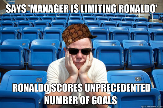 Says 'Manager is limiting Ronaldo' Ronaldo scores unprecedented number of goals