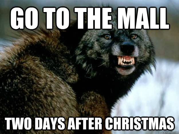 Go to the mall Two days after Christmas - Mildly Insane Wolf ...