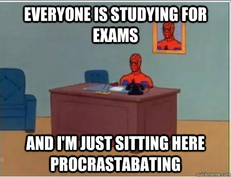 Everyone is studying for exams and i'm just sitting here procrastabating - Everyone is studying for exams and i'm just sitting here procrastabating  Spiderman Desk
