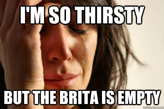 i'm so thirsty but the brita is empty - i'm so thirsty but the brita is empty  First World Problems