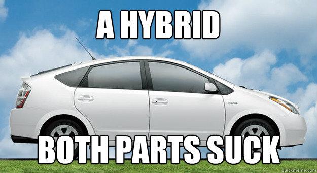a hybrid both parts suck  Prius