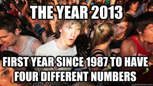 the Year 2013 first year since 1987 to have four different numbers - the Year 2013 first year since 1987 to have four different numbers  Sudden Clarity Clarence