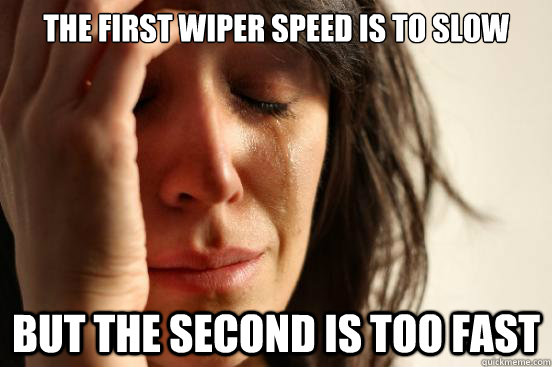 the first wiper speed is to slow but the second is too fast - the first wiper speed is to slow but the second is too fast  First World Problems