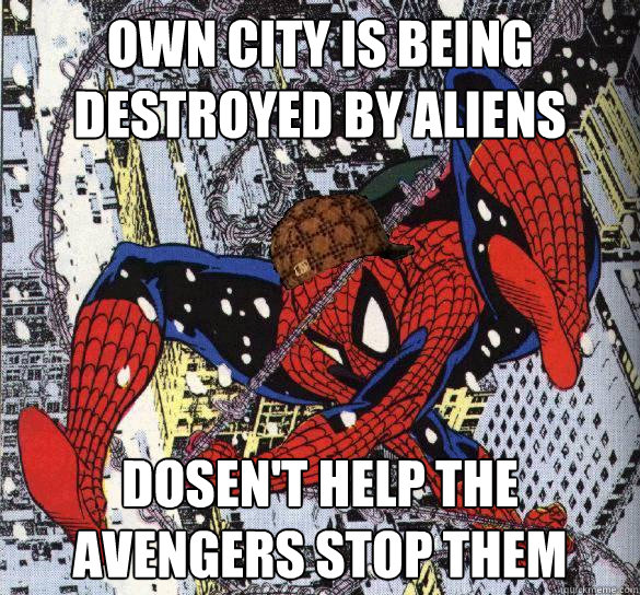 own city is being destroyed by aliens dosen't help the avengers stop them