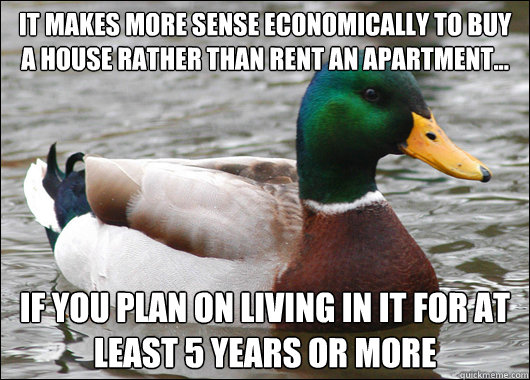 It makes more sense economically to buy a house rather than rent an apartment... If you plan on living in it for at least 5 years or more - It makes more sense economically to buy a house rather than rent an apartment... If you plan on living in it for at least 5 years or more  Actual Advice Mallard