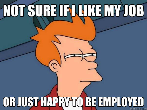 Not sure if I like my job or just happy to be employed - Not sure if I like my job or just happy to be employed  Futurama Fry