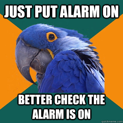 Just put alarm on Better check the alarm is on - Just put alarm on Better check the alarm is on  Paranoid Parrot