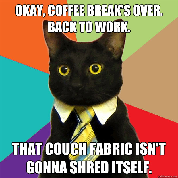 Okay, coffee break's over. Back to work. That couch fabric isn't gonna shred itself. - Okay, coffee break's over. Back to work. That couch fabric isn't gonna shred itself.  Business Cat
