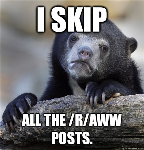I skip All the /r/aww posts. - I skip All the /r/aww posts.  Confession Bear