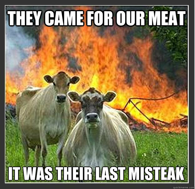 They came for our meat It was their last misteak - They came for our meat It was their last misteak  Evil cows