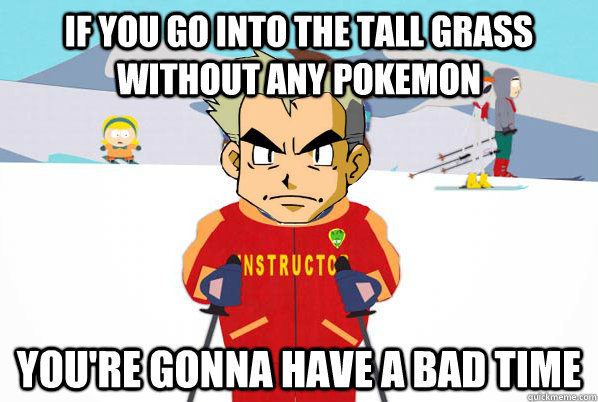 If you go into the tall grass without any pokemon You're gonna have a bad time - If you go into the tall grass without any pokemon You're gonna have a bad time  Misc