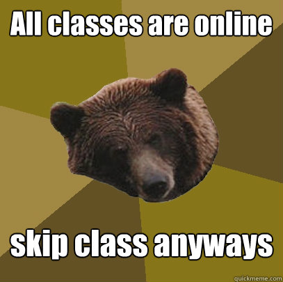 All classes are online skip class anyways  Lazy Bachelor Bear