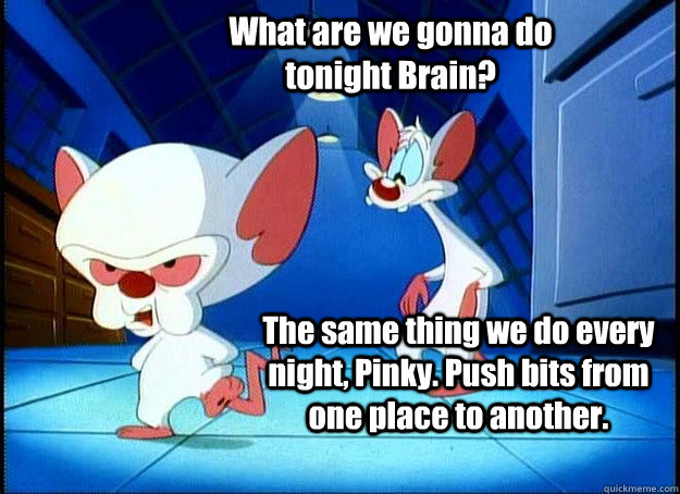 What are we gonna do tonight Brain? The same thing we do every night, Pinky. Push bits from one place to another. - What are we gonna do tonight Brain? The same thing we do every night, Pinky. Push bits from one place to another.  Pinky and the Brain