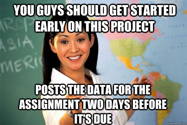 You guys should get started early on this project Posts the data for the assignment two days before it's due - You guys should get started early on this project Posts the data for the assignment two days before it's due  Unhelpful High School Teacher