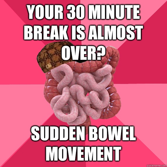 Your 30 minute  break is almost over? Sudden bowel movement - Your 30 minute  break is almost over? Sudden bowel movement  Scumbag Intestines