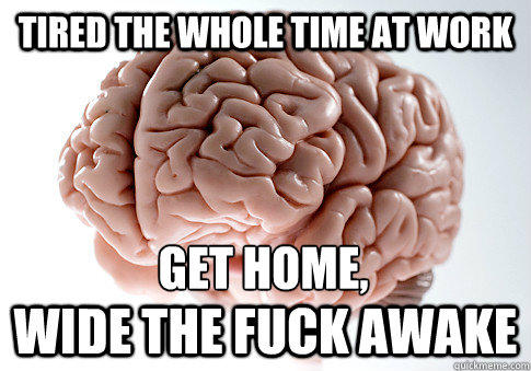 Tired the whole time at work wide the fuck awake Get home, - Tired the whole time at work wide the fuck awake Get home,  Scumbag Brain