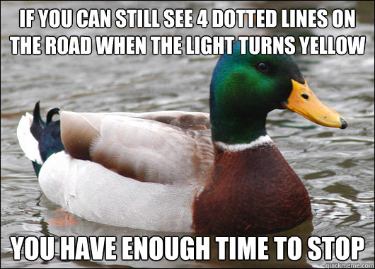 if you can still see 4 dotted lines on the road when the light turns yellow you have enough time to stop  - if you can still see 4 dotted lines on the road when the light turns yellow you have enough time to stop   Actual Advice Mallard