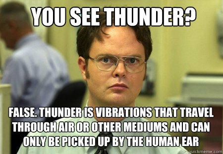 you see thunder? false. thunder is vibrations that travel through air or other mediums and can only be picked up by the human ear - you see thunder? false. thunder is vibrations that travel through air or other mediums and can only be picked up by the human ear  Schrute