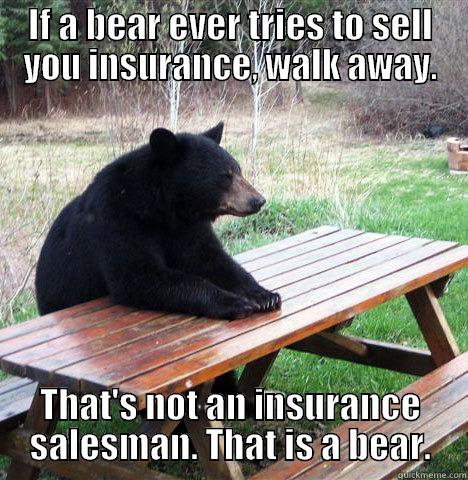 IF A BEAR EVER TRIES TO SELL YOU INSURANCE, WALK AWAY. THAT'S NOT AN INSURANCE SALESMAN. THAT IS A BEAR. waiting bear